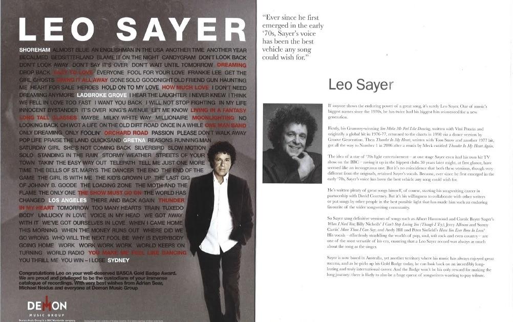 Congratulations Leo Sayer!